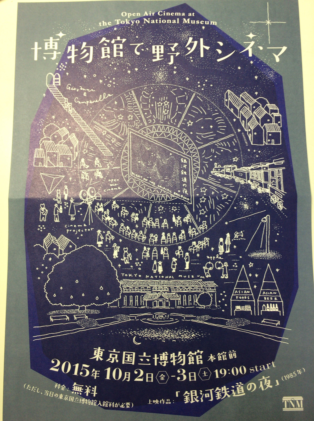 博物館で野外シネマ 銀河鉄道の夜